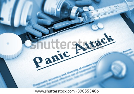 Diagnosis - Panic Attack On Background of Medicaments Composition - Pills, Injections and Syringe. 3D. Toned Image. - stock photo