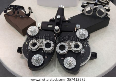 Diagnostic equipment ophthalmologist close-up. Science and medicine - stock photo