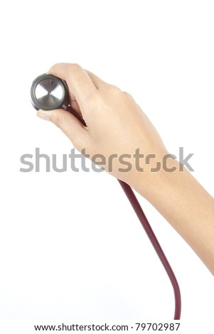 diagnostic stethoscope, Health care , stethoscope in female hand - stock photo