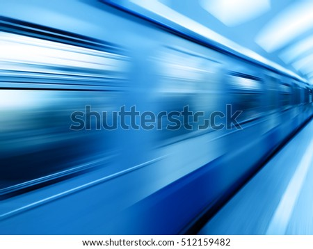 Diagonal blue motion blur metro train background