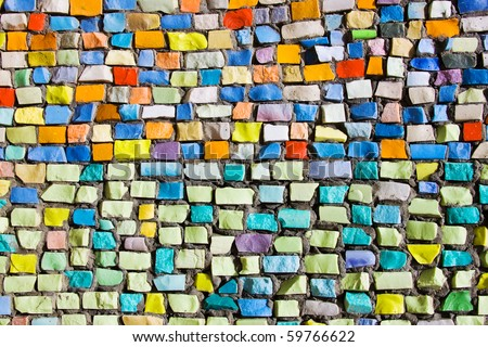 Diagonal colorful mosaic texture on the wall - stock photo