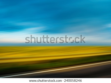 Diagonal highway vivid summer landscape motion abstraction - stock photo