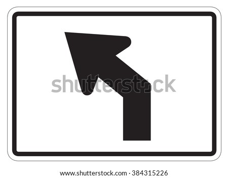Diagonal left turn arrow auxiliary Sign isolated on a white background - stock photo