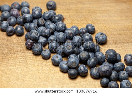 Diagonal line of blueberries