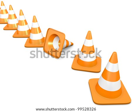 Diagonal line of traffic cones with one fallen cone, isolated on white background - stock photo