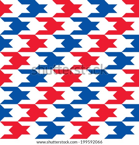 Diagonal Patriotic Houndstooth Pattern in red, white and blue repeats seamlessly. - stock photo