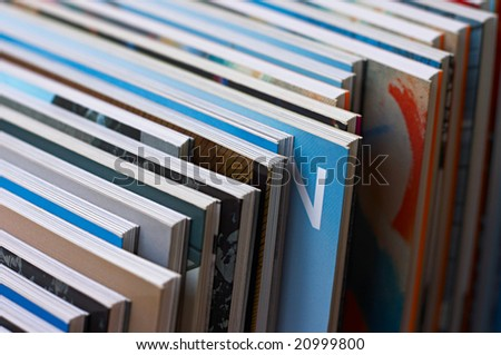 Diagonal row of books - stock photo