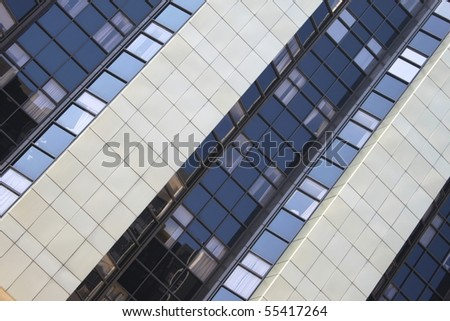 Diagonal view of a large office building