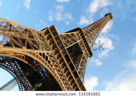 Diagonal view of Eiffel Tower , famous french symbol . Paris , France