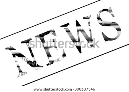 "Diagonal word ""News"" written with letters cut from newspaper - stock photo"