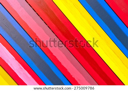 diagonally colorful wooden boards background - stock photo