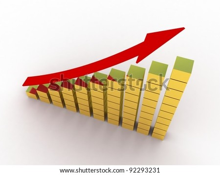 Diagram an arrow isolated on white background - stock photo