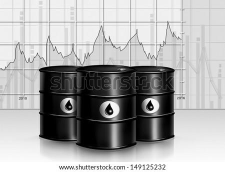diagram analysis of oil barrel - stock photo