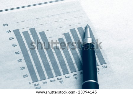 Diagram chart with pen, business and finance concept - stock photo