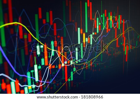 Diagram graph of stock market on a monitor. Finance data concept - stock photo