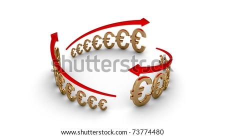 Diagram of business success, gold euros circle isolated with clipping path - stock photo