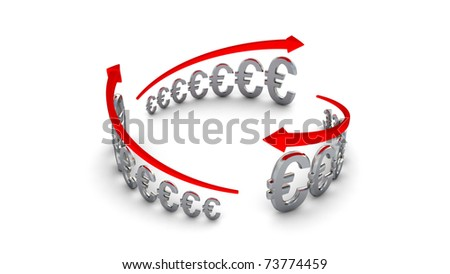 Diagram of business success, silver euros circle isolated with clipping path - stock photo