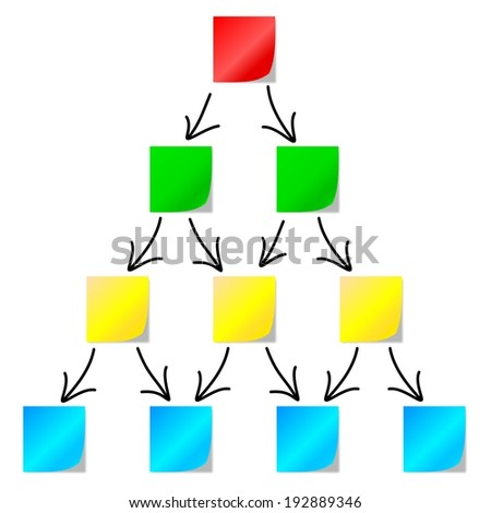 Diagram of colored papers with arrows on white background - illustration - stock photo