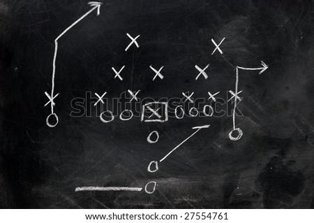 Diagram of football play on black chalkboard. - stock photo