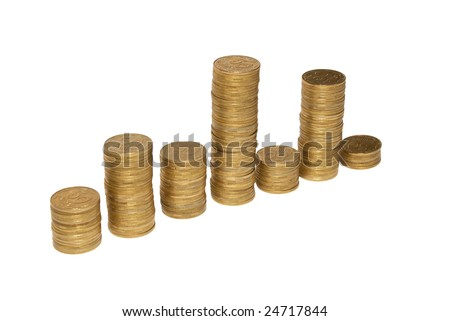 Diagram of golden coins isolated on white.