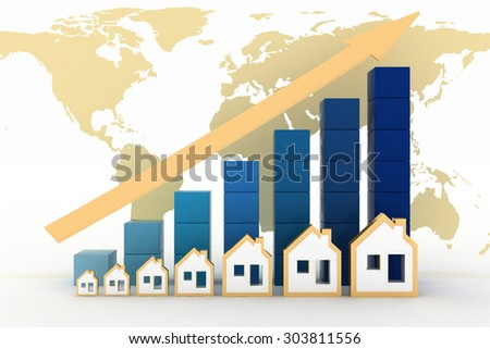 Diagram of growth in real estate prices in the world - stock photo