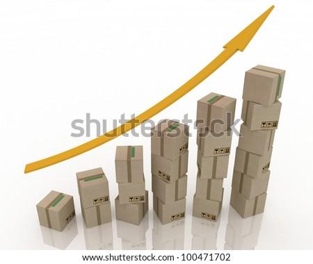 Diagram of increasing exportation. 3d rendered illustration. - stock photo