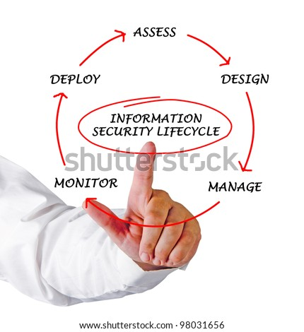 Diagram of information security lifecycle - stock photo