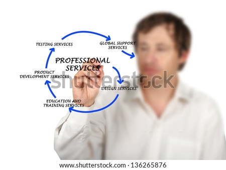 Diagram of professional services - stock photo