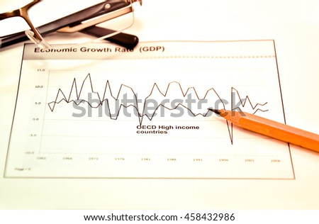 diagram on financial report with pencil - stock photo
