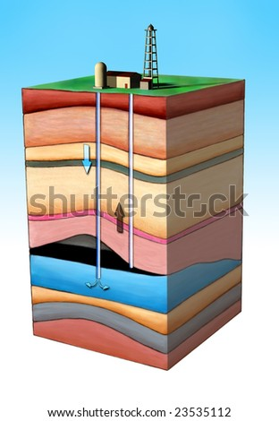 Diagram showing an oil extraction method. Clipping path included. Original Digital illustration. - stock photo
