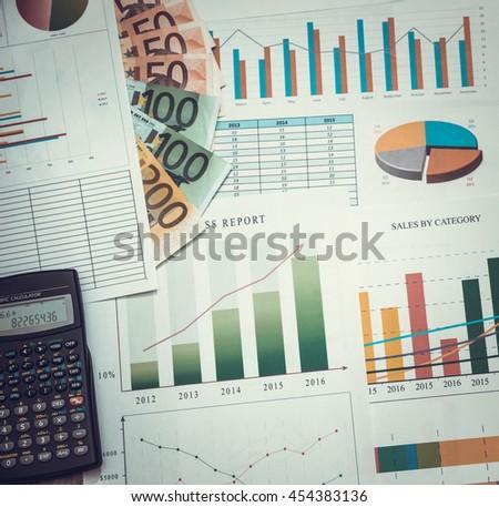 diagram with euro money. toned image - stock photo