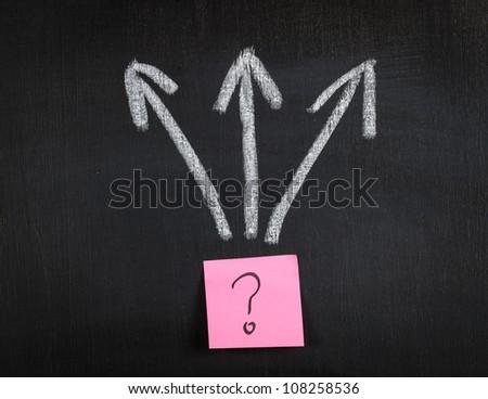 Diagram with sticker on blackboard. - stock photo