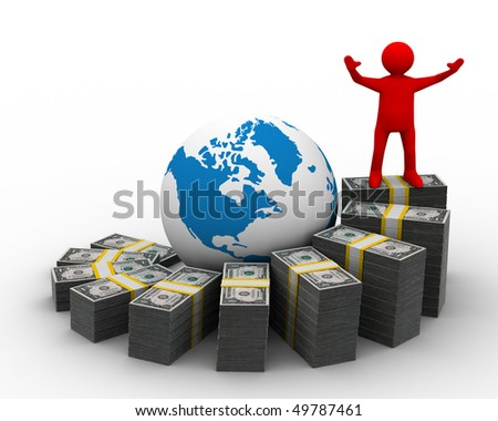 diagramme of financial growth. Isolated 3D image - stock photo