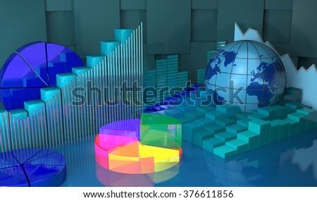 Diagrams as progress in global,business abstract background - stock photo