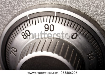 dial combination lock on the safe - stock photo
