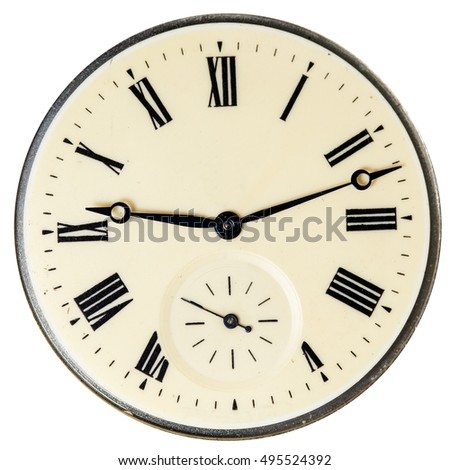 Vintage Pocket Watch Dial Only Isolated Stock Photo