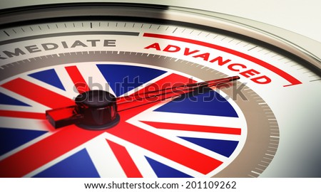 Dial with english flag with needle pointing the word advanced. concept image for illustration of english courses levels - stock photo