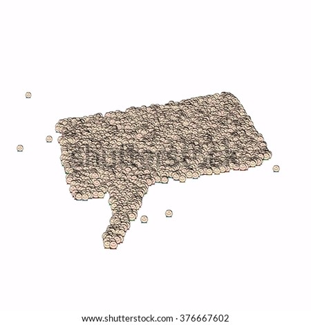 Dialog box symbol. Glyph out of tiny textures. Particles representing human and his emotions. - stock photo