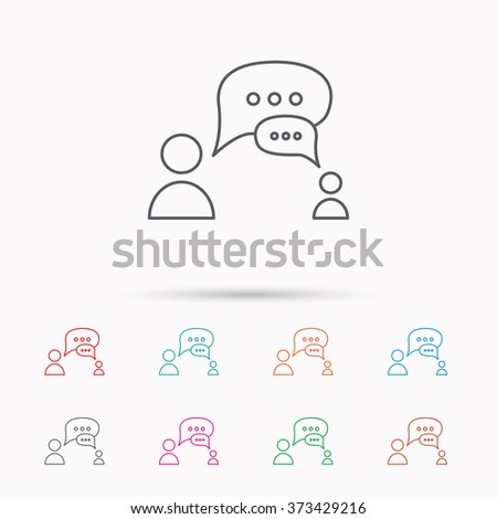 Dialog icon. Chat speech bubbles sign. Discussion messages symbol. Linear icons on white background. - stock photo
