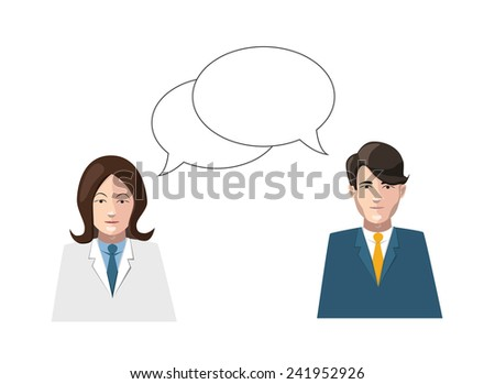 dialogue men and women flat illustration isolated on white - stock photo