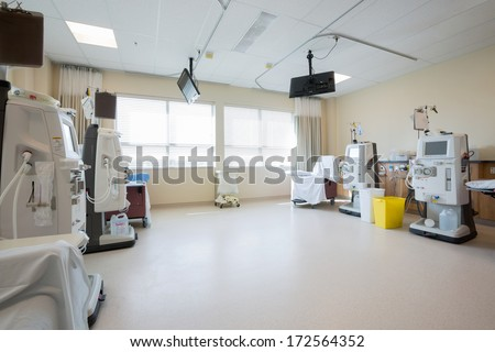 Dialysis machines in empty hospital room - stock photo