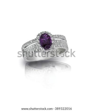 diamond amethyst purple ring engagement wedding bridal gemstone isolated on white - stock photo