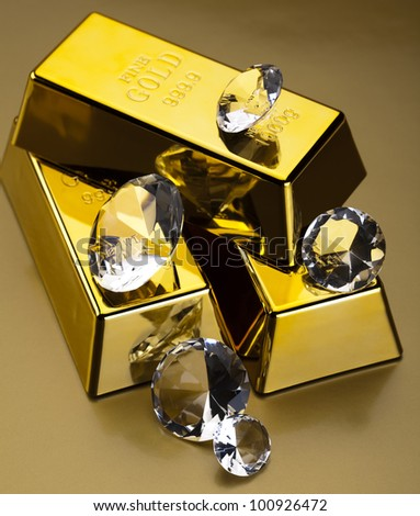 Diamond and gold - stock photo