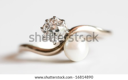 diamond and pearl ring - stock photo