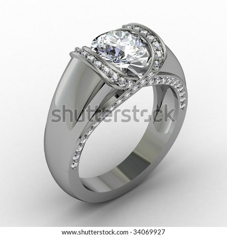 Diamond anniversary ring on white