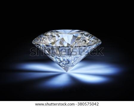diamond classic cut on white background - stock photo
