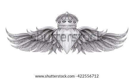 diamond crown wings tattoo hand pencil stock illustration