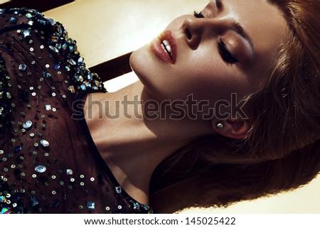 Diamond Dress on Golden Sky - stock photo