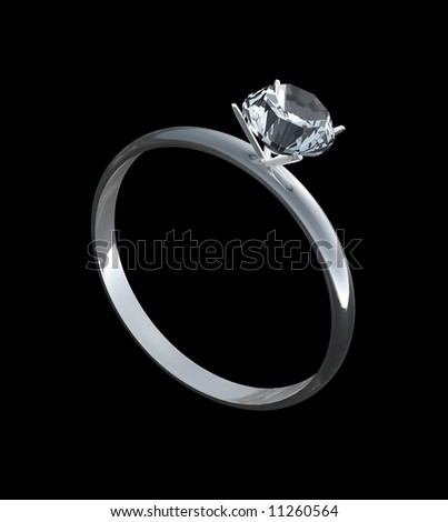 Diamond engagement ring or band in solitaire cut for wedding on pure black background. Fully faceted diamond is in four prong setting is a 3D illustration. - stock photo