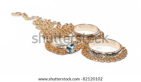 Diamond eye of ring over necklace - stock photo